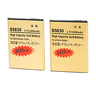 3.7v 2450mAh High Capacity Gold Battery for Samsung Galaxy Ace S5830 Gio S5660 S5670 with Charger(2 Batteries+1 Charger)