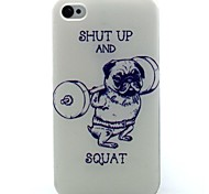 Weightlifting Dog Pattern TPU Soft Case for iPhone 4/4S