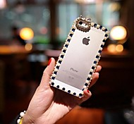 Frame Covered with  Pearls Hard Back for iPhone 4 /  iPhone 4S(Assorted Colors)