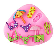 Swimwear Slippers Umbrella  Baking Fondant Cake Choclate Candy Mold,L8.4cm*W7.3cm*H0.8cm