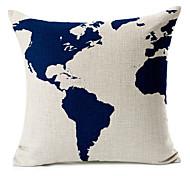 синий карту шаблон хлопок / лен декоративные подушки крышки