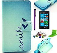 Smile Heart Pattern PU Leather Case with Screen Protector,Stylus,Dust Plug and Stand for Nokia Lumia N520