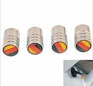 DIY German Flag Pattern Universal Tire Air Valve Caps--Silver(4PCS)