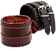 Retro 17cm Mem's Multicolor Leather LeatherBracelet(1 Pc)