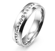 Fashion Single Line Zircon Silver Stainless Steel Band Rings(1 Pc)