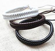 z&X® pulseiras de couro masculinos casuais tibetanos feitos à mão (1pc, preto, branco, café)