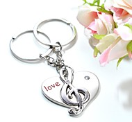 Personalized Engraving Music Notation Metal Couple Keychain