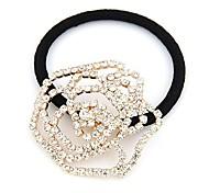 Korean Fashion Flash Diamond Hollow Rose Hair Ties