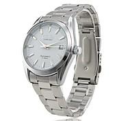 CJIABA Men's Auto Mechanical Dress Style Silver Steel Band Wrist Watch