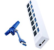 hub USB SuperSpeed ​​7 portas 3.0 com interruptores individuais e leds para macbook air, tablet pc (cores sortidas)