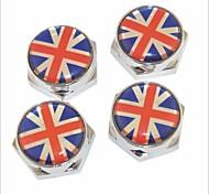 DIY British Flag Pattern Universal Metal License Plate Bolt Screw Caps for Car