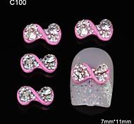 10pcs Pink Twist Rhinestone Bowtie DIY Alloy Accessories Nail Art Decoration