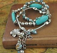 mode bracelet de fleurs turquoise