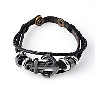 Fashion Hot New Punk Men Genuine Leather and PU Anchor Adjustable Bracelet