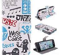 Cartoon PU Full Body Case with Stand with Card Slot for iPhone 5C