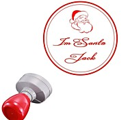 Personalized 42x42mm Christmas Santa Claus Style 2 Lines Round Engraved Photosensitive Signet Stamp(15 Letters)