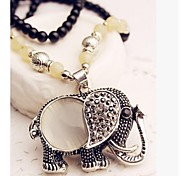 Z&X®  Vintage Alloy And Opal Elephant Pendant Sweater Long Necklace