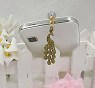 Fashion Delicate Peacock Shape Alloy Diamante Anti-dust Plug for Universal Mobile Phone