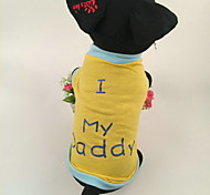 "Lovely Style Cotton Print I my Daddy"" Pet Yellow T-shirt for Dogs"