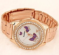 Women's Round Diamante Case Butterfly Pattern Metal Band Fashion Watch