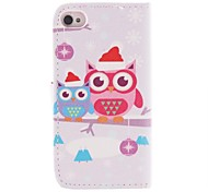 Cute Cartoon Owls Pattern PU Leather Full Body Cover with Stand and Money Holder for iPhone 4/4S