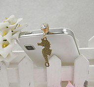 Fashion Delicate Hippocampus Shape Alloy Diamante Anti-dust Plug for Universal Mobile Phone