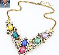 Z&X®  Luxurious Elegant Colorful Collor Necklace (4 Colors Options: Green, Blue, White, Multicolor)
