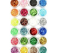 24PCS Nail Art Glitter Powder Nail Art Foil Powder Arylic Powder for Nail Decorations