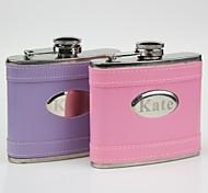rose de cadeau personnalisé / violet cuir 5 oz flacon courbe