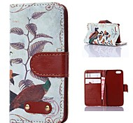Bird Pattern PU Leather Case for iPhone 4/4S