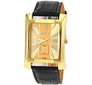 Men's Square Gold Case Leather Band Quartz Dress Watch (Assorted Colors)