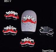 10pcs Silver Beauty Red Moustache 3D Alloy Nail Sticker Rhinestone DIY Nail Art Decoration