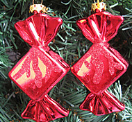 Set Of 2 Christmas Ornaments Colorful Sweet ,Plastic ,Random Color
