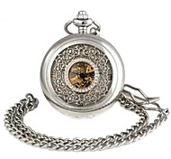 Unisex Hollowed Flower-Shaped Round Dial Alloy Waistchain Mechanical Pocket Watch Silver (1Pc)