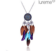 Lureme®Vintage Acrylic Alloy Hollow-out Flower Pattern Feather Pendant Necklace