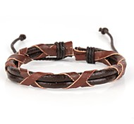 X Shape Brown Leather Men's Adjustable Bracelet (1 Piece)