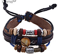 leather Charm Bracelets Lureme®Fashion Multi-Beads Leather Rope Braided Shell Bracelet