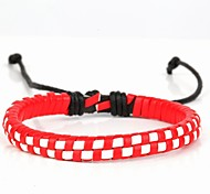 Comfortable Adjustable Women's Leather Hard Bracelet Mosaic Check Red White Braided Leather(1 Piece)