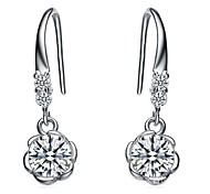 Fine Jewelry 925 Sterling Silver Zircon Earring Drop 1 Pair