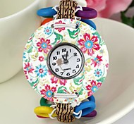 Women's Floral Pattern Large Dial Wooden Quartz Bracelet Watch Mixed Color (1Pc)