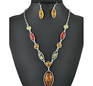 colorido colar de âmbar elipse do vintage& conjunto de jóias brincos
