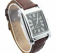Men's Square Dial Leather Band Fashion Quartz Watch (Assorted Colors)