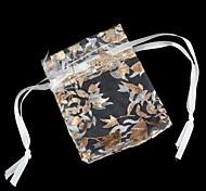 Gold Leaf Pattern Mesh Gift Bag (1Pc)