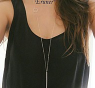 Eruner® Simple Geometric Rectangular Metal Tassel Chain Necklace