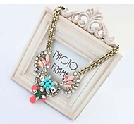 Exaggerated Colorful Crystal Gems Necklace #86-1