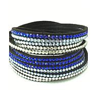 Mix Colours Handmade Velvet Bracelet Bling Rhinestone Wrap Leather Bracelet Hot Drill Bangle