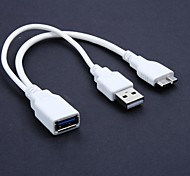 0.2M USB3.0 OTG Y Cable AF to Micro B Male and USB2.0 A Male for Power Option , White Color