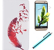 Beautiful Red Design PU Leather Full Body Case with Screen Protector, Stylus and Stand for HTC One M8