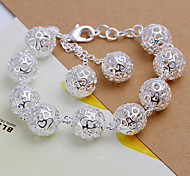 Lovely Generous  Women's  Full Tridimensional Balls Silver Plated Brass  Chain & Link Bracelet(Silver)(1Pc)