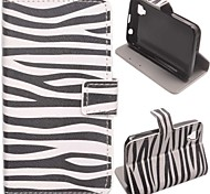 Zebra Pattern PU Leather Case with Stand and Card Slot for Wiko Sunset